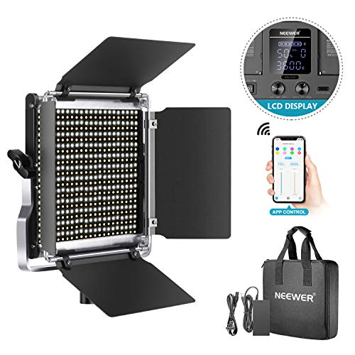 Neewer 528 LED Video Light, Dimmable Bi-Color Photography Lighting Kit with APP Intelligent Control System, Professional for YouTube Studio Outdoor Video Lighting with LCD Screen, 3200K-5600K Metal