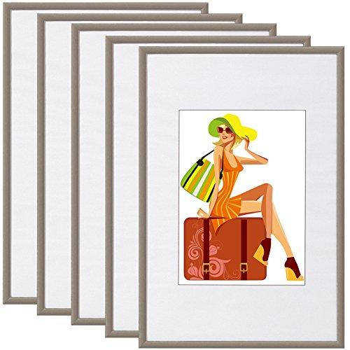 WOLTU Cadre Photo Lot de 5 en Plastique et Verre,Cadre de Photo avec Passe Partout 30x40cm,Acier BR9864st-5