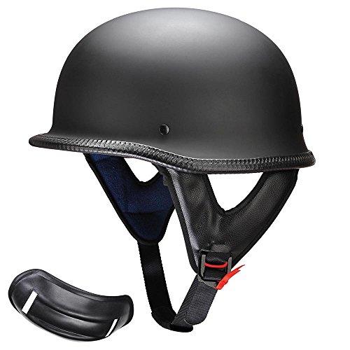 AHR Run-G DOT German Style Motorcycle Half Helmet Open Face Cruiser Chopper Biker Skull Cap Helmet Black L