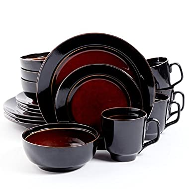 Bella Galleria 16 Piece Dinnerware Set, Red/Black