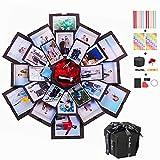 Churidy Kreative Überraschung Box Geburtstag DIY Geschenk Explosions Box Handgemachtes Scrapbook Faltendes Fotoalbum, Geschenkbox mit 6 Gesichtern, Jahrestag Valentine Hochzeit Muttertag (Schwarz)