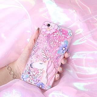 Liquid case for iPhone 6/6 plus / iPhone 7/7 plus Print Flowing Liquid Floating Luxury Bling Glitter Sparkle Stars Transparent Plastic Case (Pink Unicorn, iPhone 7 (4.7 inch))