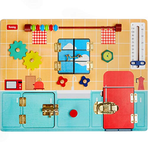Toddler Busy Board - Montessori Busy Boards for Toddlers with Latches Doors & Lock Puzzles  Wooden Educational Learning Latch Toy for Kids 2 3 4 Year Old - Sensory Fine Motor Skills Activity