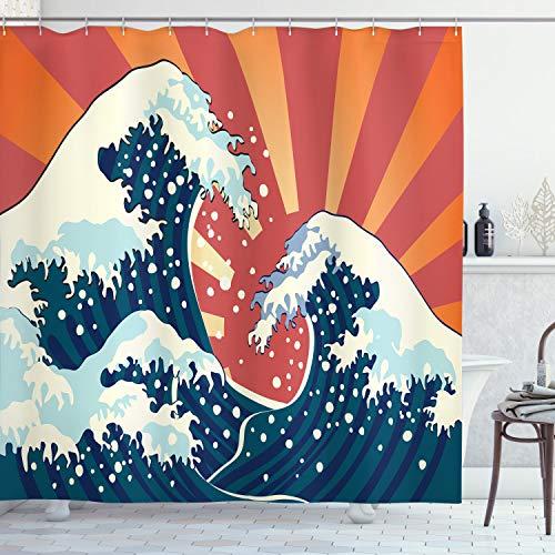 ABAKUHAUS Japanische Welle Duschvorhang, Sommer-Sonnenuntergang, Seife Bakterie Schimmel und Wasser Resistent inkl. 12 Haken und Farbfest, 175 x 200 cm, Multicolor