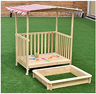 Retractable Sandbox and Rolling Playhouse with Canopy for Kids - Very Sturdy and Strong Children Outdoor Backyard Toy – Solid Construction Wood Frame Play Area with Roof for Sunlight and Rain Protect
