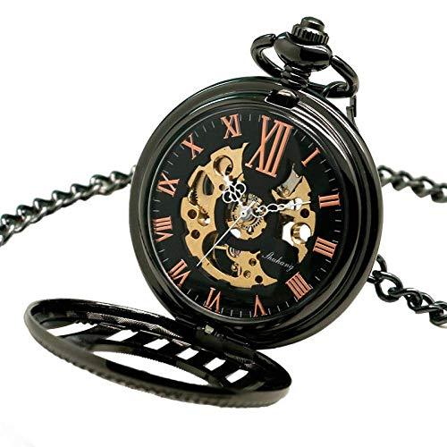 J-Love Caja de Rayas mecánicas Relojes de Bolsillo de Cuerda Manual Reloj Hombre Mujer Regalo