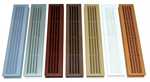 SN-TEC Türlüftung/Badezimmer Lüftung/Lüftungsgitter mit eckigen Kanten, für Türstärke von 34 bis 48mm, verschiedene Farben (Grau/Silber/Mahagoni/Braun/Limba/weiß/Buche) (Silber)