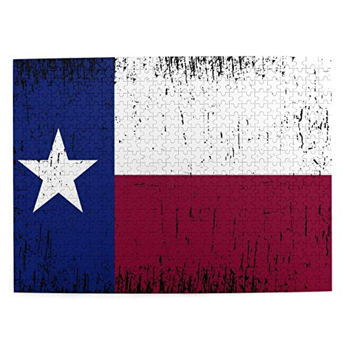 Rompecabezas de 500 piezas para adultos 20.5 x 15 pulgadas de madera de la bandera del Estado de Texas Fondo de Puzzle para niños y niñas mayores regalos
