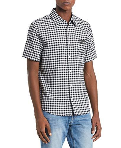 Calvin Klein Herren Short Sleeve Oxford Button Down Shirt Hemd, schwarzer Gingham, X-Klein