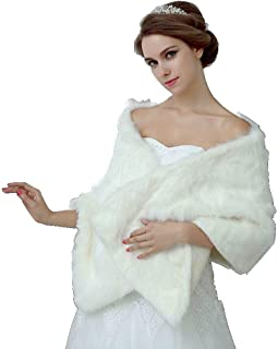 """ Mydio Faux Fur Shawl Wrap Stole Cape,Shawl Wrap Faux Fur Scarf Stoles for Wedding Dresses"""