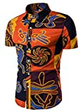 QZH.DUAO EMAOR Men's Floral Print Slim Fit Short Sleeve Casual Button Down Shirt, TC 02 Red, US X-Large(Slim Fit) = Tag 4XL