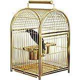 LULUVicky-Home Grande Pappagallo Uccello Gabbia Comodo per il Trasporto Gabbia in Acciaio Inox Fare Liuniao Applicare a Uccelli Ornamentali (Colore: Argento, Dimensioni: 35X32X51cm)