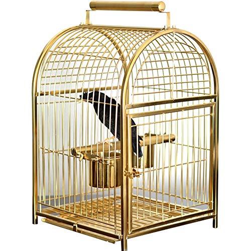 WyaengHai Haustierbett, Edelstahl, Vogelkäfig, Zuchtkäfig, mit abnehmbarem Trinkbecher, für dekorative Vögel 35X32X51cm silber