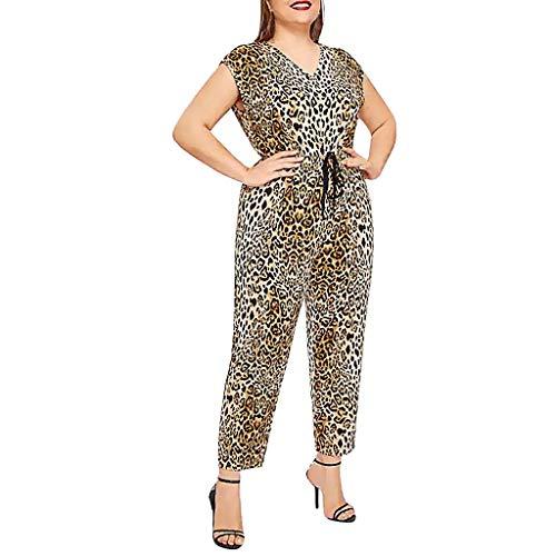JiaMeng Damen Overall, Leopard Print Sommer Sexy High Waist Playsuit Klied Freizeit Leinen Long Latzhose Pluderhosen