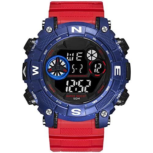 WNGJ Reloj Deportivo para Hombres, Reloj electrónico multifunción al Aire Libre, Reloj Digital Ocasional Luminoso Impermeable, Reloj de protección Luminoso Deportivo diar