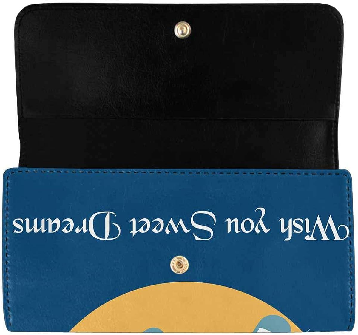 INTERESTPRINT Women's Trifold Clutch Card Holder Cartoon Octopus with Cherry Pattern Purses Wallet Handbags