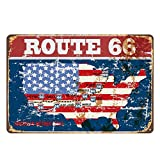 Lumanuby. 1x Retro 'Route 66' Deko Wandschild Gemalt Stil