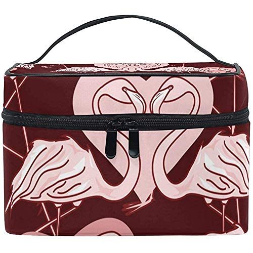 Cosmetic Bag, Flamingos Travel Makeup Organizer Bag Cosmetic Case Portable Train Case for Women Girls