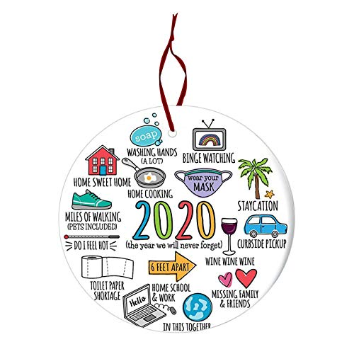 UpdateClassic Christmas Ornament 2020/XMAS Decorations 2020 Year to Forget Christmas Ornament 2020 Santa Claus Ornaments Covid_Christmas Ornament Peace & Happiness Decorations