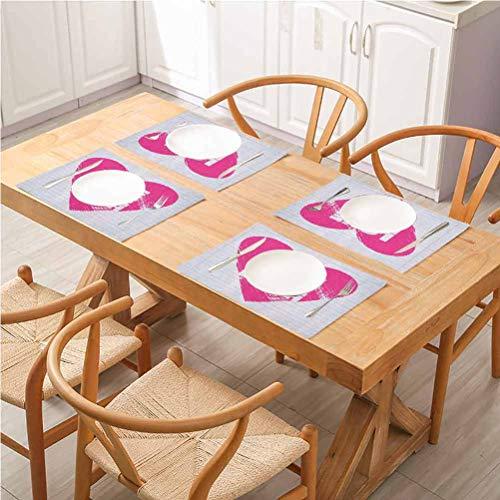 Mesa de comedor de cocina con aislamiento térmico antideslizante lavable manteles individuales, Live Laugh Love estilo cuaderno telón de fondo con un Gi, para comedor cocina y restaurante, juego de 4