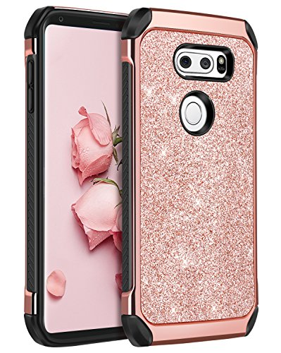 LG V30 Case, LG V30+ Case, LG V35 ThinQ Phone cases, LG V30S ThinQ Cell Phone Case, BENTOBEN Slim 2 In 1 Glitter Bling Sparkly Cover, Heavy Duty Shockproof Protective Cases for Women, Gilrs, Rose Gold
