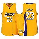 RLYJZ Lakers James NuméRo 23 VêTements De Basket, Gilet De Sport + Short Ensemble Deux PièCes, Adulte Enfant Tenue De Sport VêTement De Tous Les Jours, XXS-5XL,B,2XL