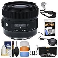 シグマ30mm f / 1.4DC HSM Artレンズwith USB Dock + 3フィルタ+スリングストラップ+ディフューザーキットfor Canon EOSデジタル一眼レフカメラ