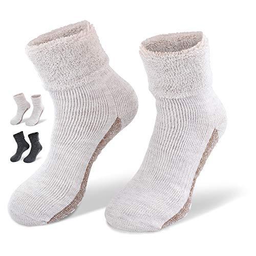 NewwerX 2 Paar Socken mit ABS-Antirutsch-Beschichtung - Home-Socken mit feinster Wolle und Alpaka-Wolle (Beige, 39-42)
