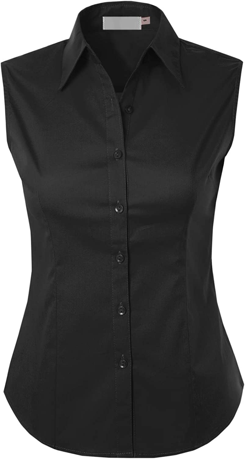 MAYSIX APPAREL Sleeveless Stretchy Button Down Collar Office Formal Casual Shirt Blouse for Women Fit (XS-1XL)