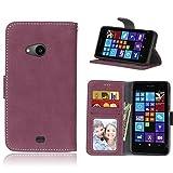 pinlu Hohe Qualität Retro Scrub PU Leder Etui Schutzhülle Für Nokia Microsoft Lumia 535 Lederhülle Flip Cover Brieftasche Mit Stand Function Innenschlitzen Design Rose Red