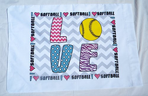 Love Softball estándar funda de almohada