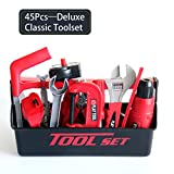 45 Pcs Kids Tool Set with Electronic Drill Toys Tool Kit Contains Toy Hammer Goggles Saw wrench vise paper cutter Module etc,Toddler Pretend Play Construction Tool ,Plus Portable Toolbox- Electric
