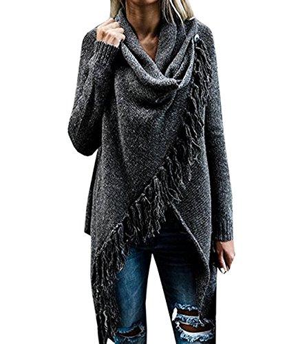 Fantastic Zone Womens Long Sleeve Speckled Fringe Open Front Cardigan Sweaters for Women, Medium, Dark Grey