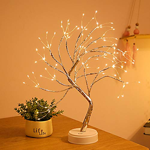ASDRVW twig lights Tree Lamp Birch Tree 108 LED Stars Branch Lights Bonsai tree light battery or USB power supply Ambient light for Christmas decoration in the desk living room and bedroom-warm white
