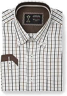 Camisa Manga Larga Color Blanco, con Estampado de Cuadros pequeños ...