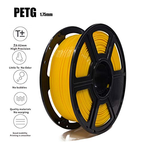 Premium Yellow PETG 3D Printer Filament 1.75mm with ± 0.05mm 1KG /2.2LBS Spools Non-Toxic Eco-Friendly Consumables for Most 3D Printers