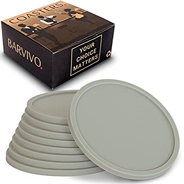 Barvivo Drink Coasters by Set of 8 - Tabletop Protection For Any Table Type, Wood, Granite, Glass, Soapstone, Marble, Stone Tables - Perfect Grey Soft Coaster Fits Any Size of Drinking Glasses.