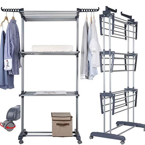 Johgee Tendedero para ropa interior sobre 3 niveles de 4 ruedas (2 freno de estacionamiento, plástico ABS) Carga máxima: 38 kg, gran capacidad, tamaño 172 x 72 x 50 cm, gris