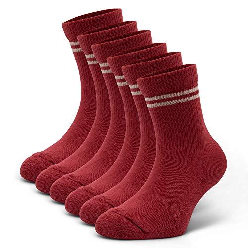 CFA Crew Tennissocken für Jungen und Mädchen | OEKO-TEX-zertifiziert | Weiche und langlebige Socken mit Weichbettung | Ohne Chemikalien | Modische Socken für Kinder (Rot 3-Paar, 31-33)