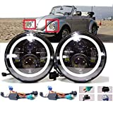 Autofu 7'' Round Headlights With Turn Signal Halo DOT Conversion Kit Fits for Volkswagen Beetle Classic, 2 Sealed Beam Lights Replace H6024 H5024 H6012 H6014 H6015 H6017 LED High Low Beam/DRL