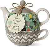 Pavilion Gift Company Bloom Sister Ceramic Tea for One, 15 oz, Multicolor