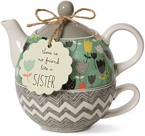 Pavilion Gift Company Bloom Sister Ceramic Tea for One, 15 oz, Multicolor