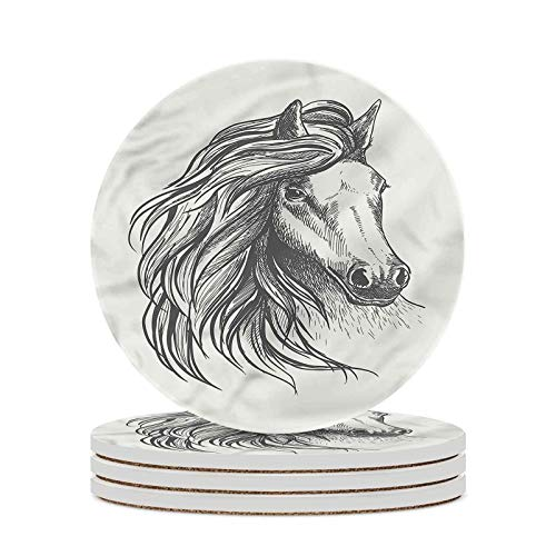 Gypsy Decorative Coasters Equestrian Nobility Horse Round Drinks Absorbent Stone Coaster Set with Ceramic Stone and Cork Base Farmhouse Style for Bar Home Decor Housewarming Gift