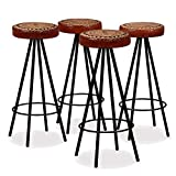 ZAMAX 4 Pack Industrial Style Bar Stools with Real Leather Seat and Steel Leg for Home Bar and Restaurant, Unique Beer Bottle Cap Seat Design Bar Stool Chair