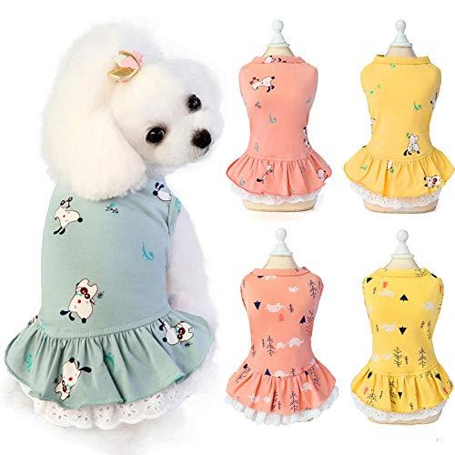 AGQG Hundekleider Kleine Hunde Prinzessin Kleid Paillettenkleid Schulterfreies Kleider Tutu Rock Hundekleid Hundekleidung Sommer Baumwollkatze Hundekleid gedruckt