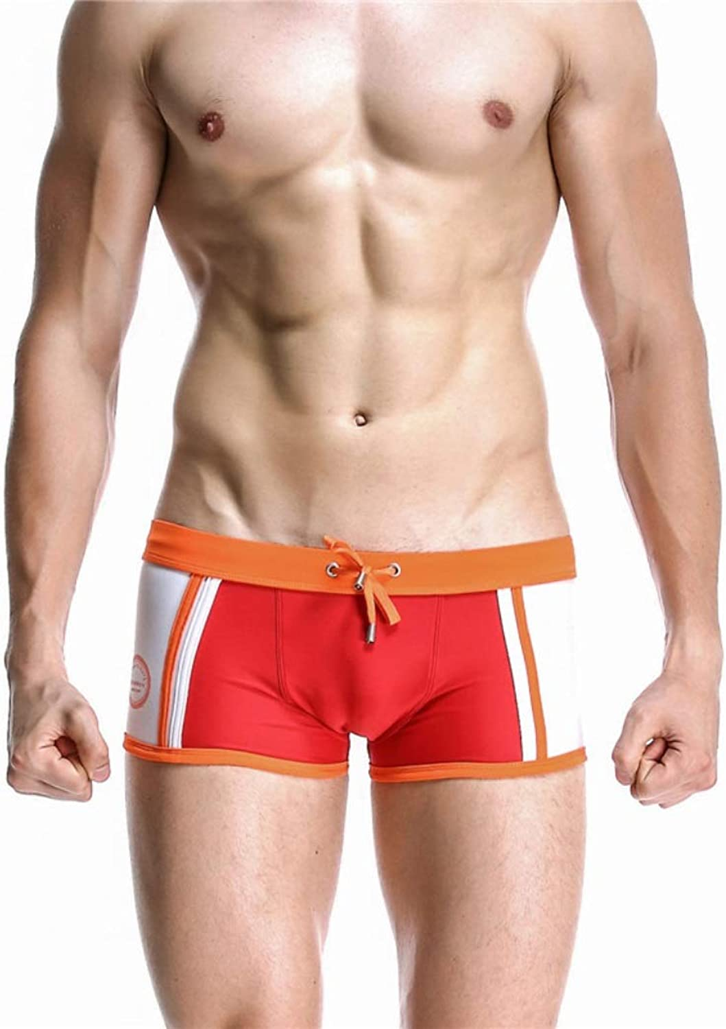 Songlin@yuan Sexy Men's Elastic Solid Swimming Shorts, QuickDrying Men's Swimming Boxer Shorts, Polyester Beautiful