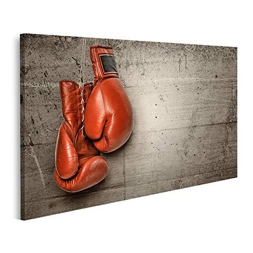 Tableau Tableaux Gants de boxe pour accrocher un mur de béton, y compris un chemin de clippage Cadre sur Toile Impression Photo Affiches