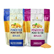 PB Trimmed Powdered Peanut Butter 16 oz Container (2-Pack Bundle) 1 SALTED CARAMEL (16 oz) + 1 CHOCOLATE (16 oz)