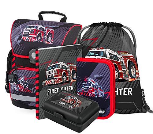 Schulranzen Set Jungen 5 Teilig - Schultasche ab 1. Klasse - Grundschule Ranzen mit Brustgurt - Ergonomischer Schulrucksack (Feuerwehr)
