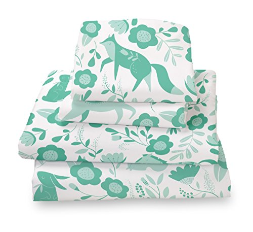 Where The Polka Dots Roam Marigold Seafoam Folktale Forest Animals Twin Size Sheet Set, Soft Sheets for Deep Matresses, 4 Piece Twin Size Set in White and Gold